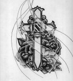 Cross And Roses Tattoo Picture in Black and White Design