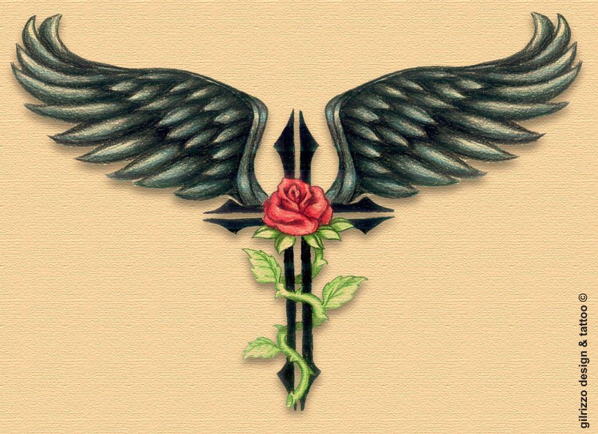 Wings Angel Cross And Rose Tattoo For You