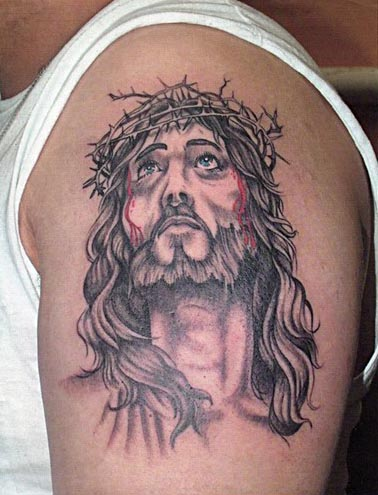 Jesus And The Crown Of Thorns Tattoo Cool Tattoo Designs