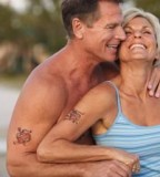 Old Intimate Couples With Matching Tattoo Photo