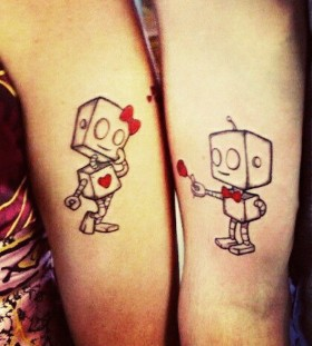 cute robot love couples tattoos