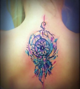 cute watercolor dreamcatcher tattoos for women