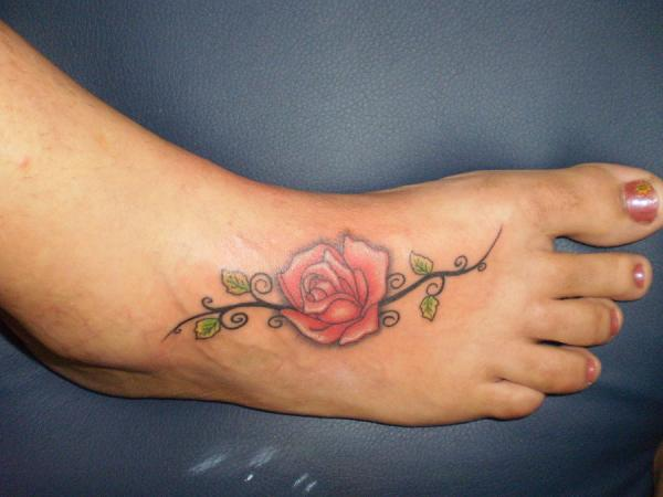 Sexy Red Rose Foot-Tattoo Design for Women – Flower Tattoos