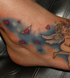 Cute and Feminine Cupid Tattoos on Feet for Women - Tattoos for Women