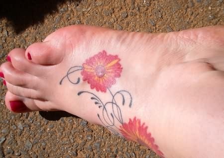 Swirly Red Daisy Flower Tattoo On Foot - Flower Tattoos for Women