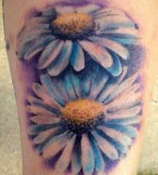 Exotic Blue Daisy Flower Tattoos for Women - Flower Tattoos