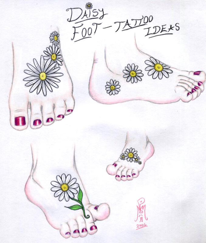 Various Daisy Foot Tattoo Ideas by Limegreensquid (Deviantart)
