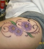 Exotic Purple Daisy Legs / Thigh Tattoos for Women - Flower Tattoos