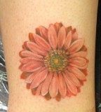Beautiful Feminine Red Daisy Flower Tattoos for Women