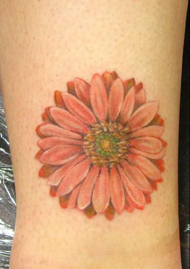 Beautiful Feminine Red Daisy Flower Tattoos for Women