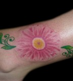 Feminine Pink Daisy Flower Foot / Ankle Tattoo Design for Women