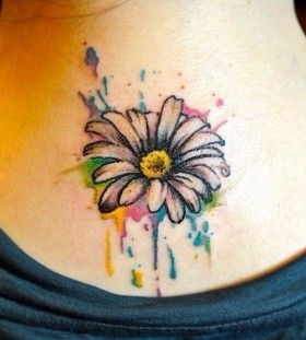 daisy watercolor tattoo