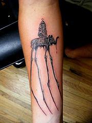 Black Dali Elephant Tattoo Design for Men and Women Hand