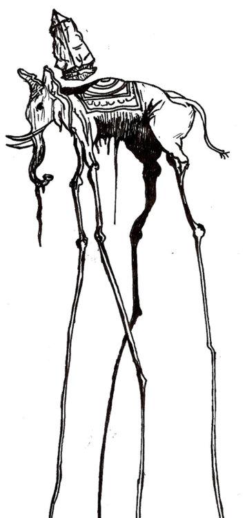 Black Dali Elephant Tattoo Sketch Ink