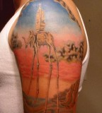 Colorfull Dali Elephant Tattoo Picture Design for Men Shoulder