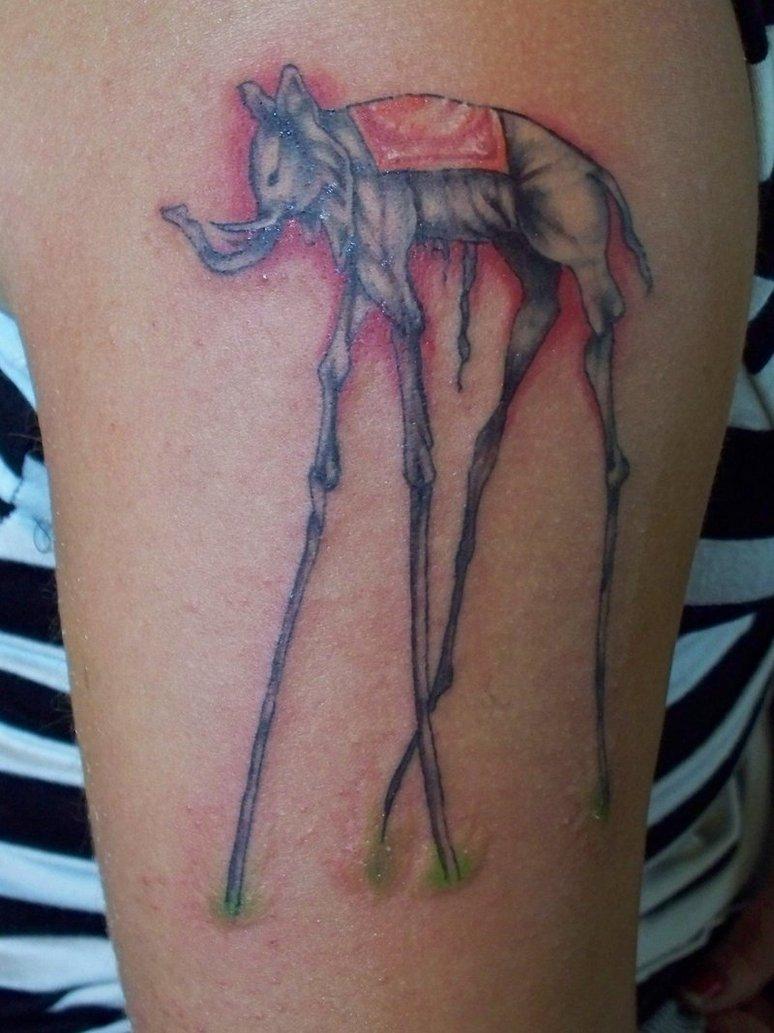 Awesome Dali Elephant Tattoo
