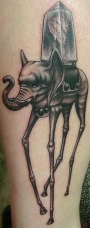 Elegant Identity Dali Elephant Tattoo by Ben Rettke