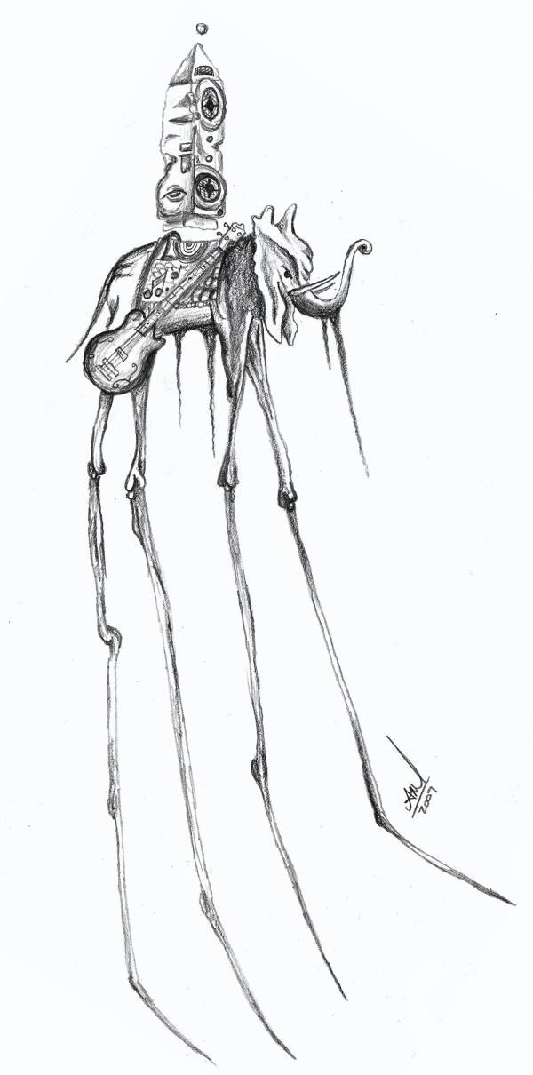 Wonderful Dali Elephant Tattoo Sketch Design