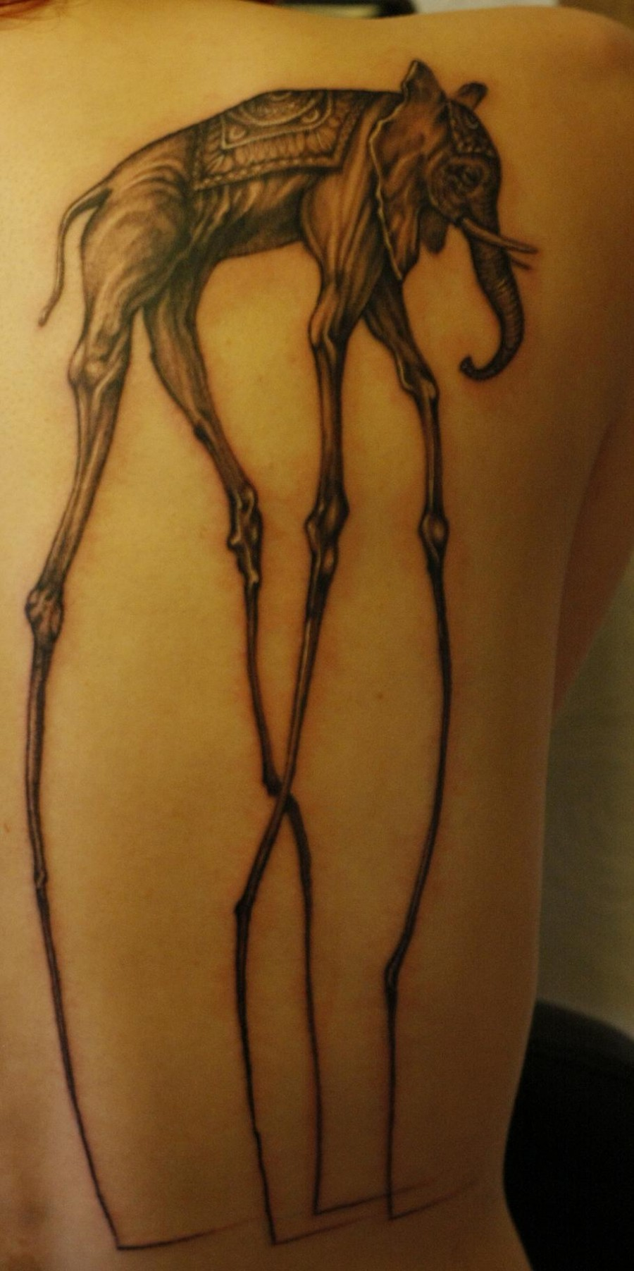 Finished Dali Elephant Tattoo for Women and Men