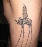 Dark Dali Elephant Tattoo on Rib for Men
