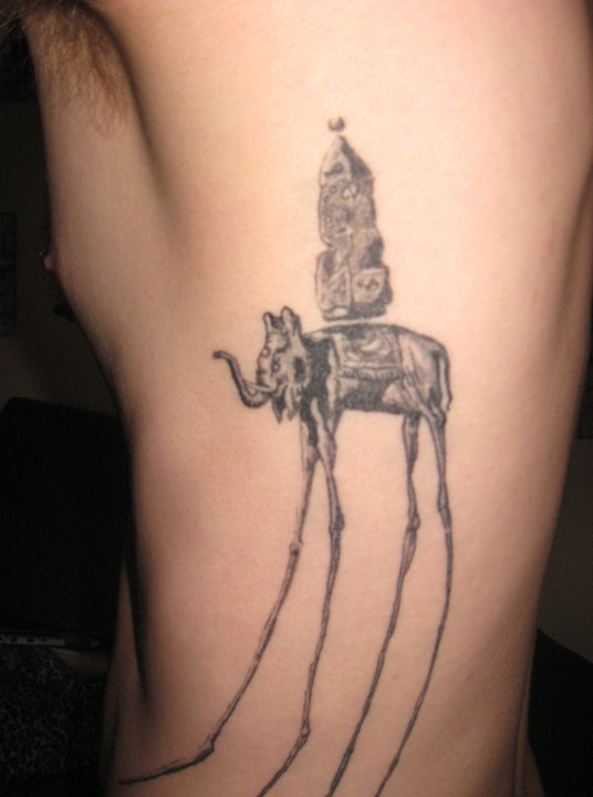 64245004c Dark Dali Elephant Tattoo on Rib for Men - | TattooMagz › Tattoo ...