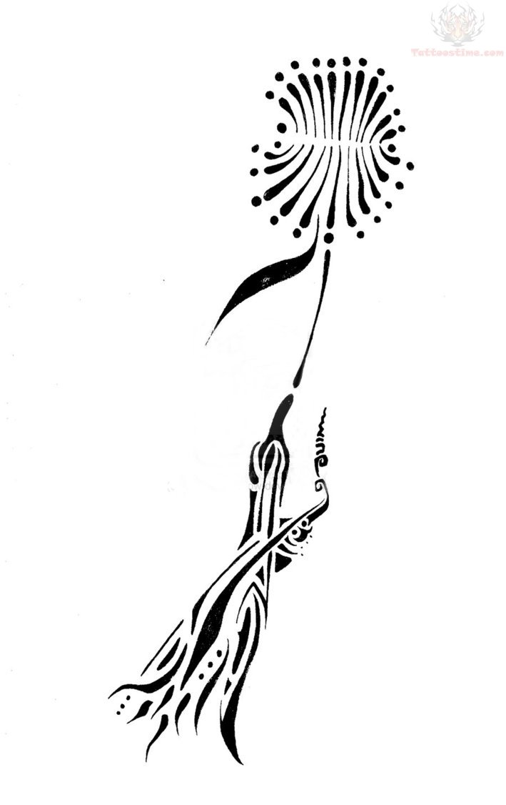Bird And Dandelion Tattoo Design