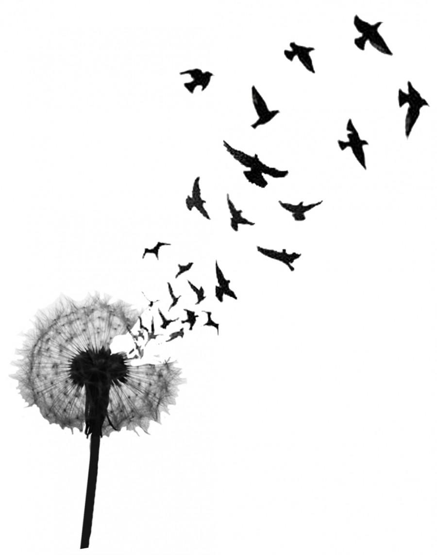 Dandelion And Birds Tattoo Design