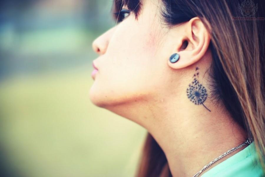 Dandelion Tattoo On Girl Neck