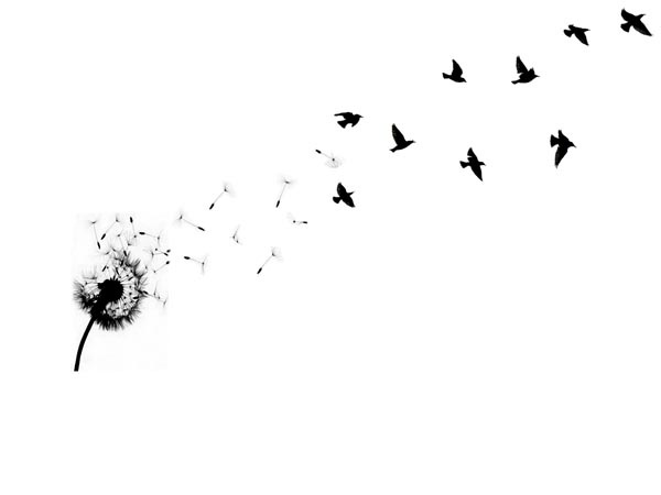 Flowing Dandelion Birds Tattoo