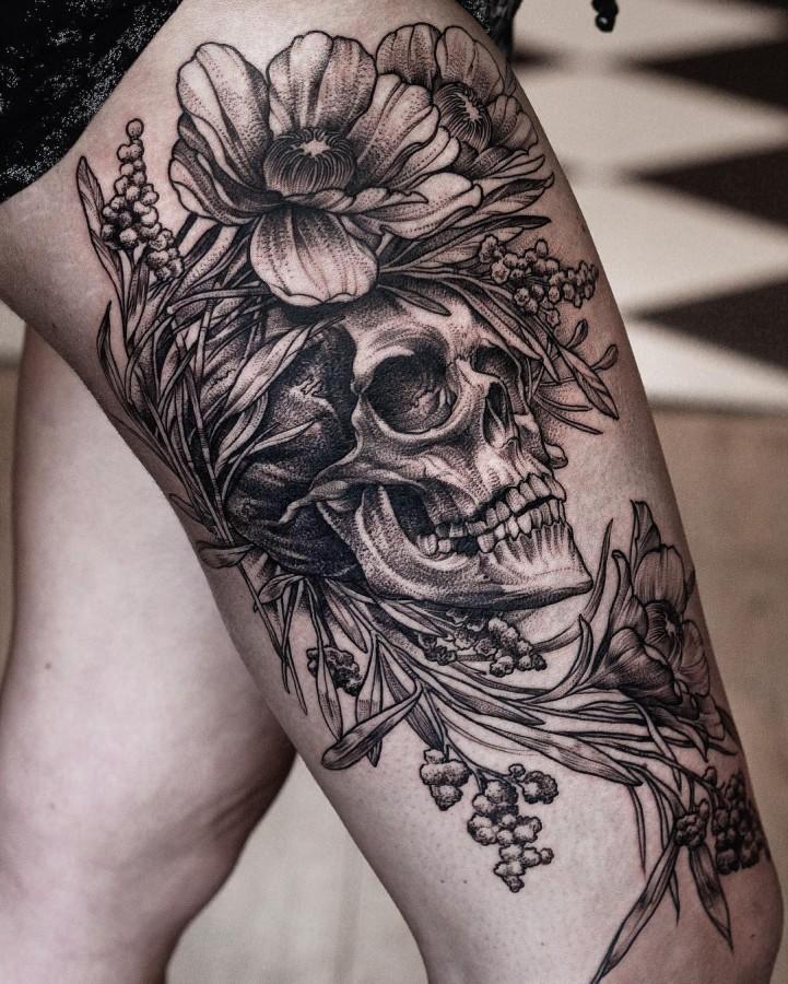 danielbacz-floral-skull-tattoo