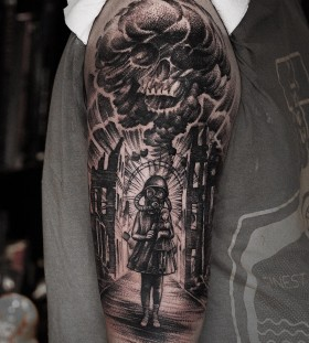 danielbacz-forearm-linework-skull-tattoo