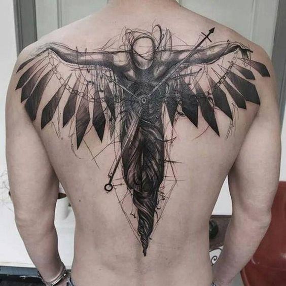 dark angel back tattoos for men