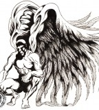 Dark Angel with Big Wings Tattoo Design