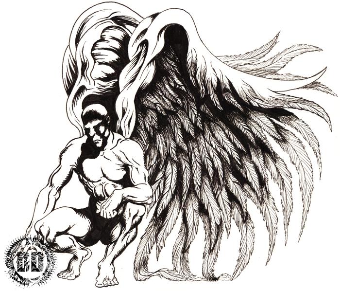 Dark Angel with Big Wings Tattoo Design