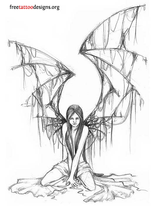 Angel with Torn Wing Tattoo Design