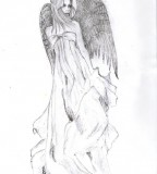 Angel with Dark Wings Tattoos Design