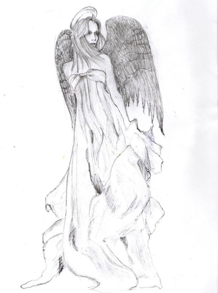 Angel with Dark Wings Tattoos Design
