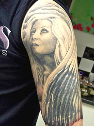Blondie Dark Angel Tattoo Design on Arm