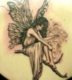 Cute Angel on Bough Tattoos