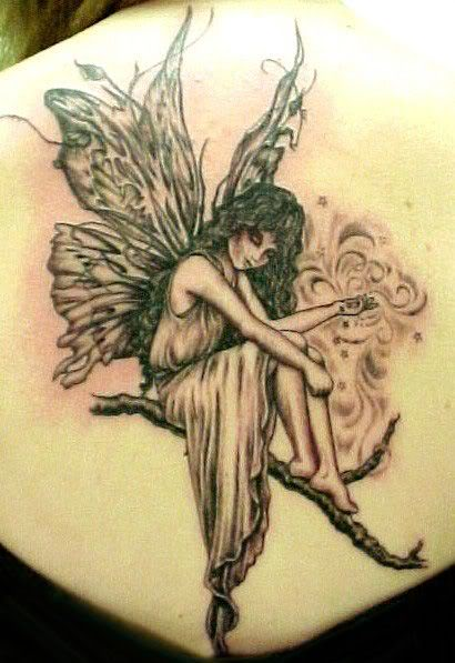Cute Angel on Bough Tattoos