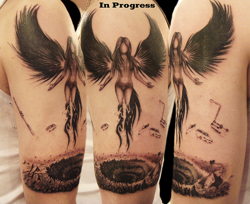 Black Angel Tattoo Design
