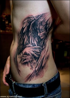 23ec52389dafb Dark Angel with Face and Wings Tattoo Designs - | TattooMagz ...