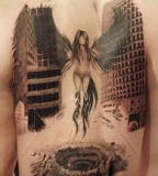 Dark Angel in City Tattoo Designs