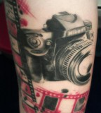 Awesome Camera and Roll Tattoo Art