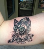 Cute Cat Tattoo On Arm For Men