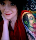 Zombified Davey Havok of AFI Tattoo Girl's Upper Arm