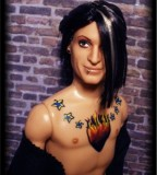 Davey Havok Inspired Doll Completed with the Stars and Flaming Heart Chest Tattoos