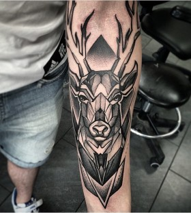 deer geometric arm tattoos for men