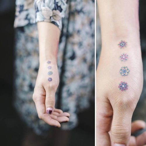 delicate hand flower tattoo