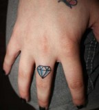 Cute Small Diamond Girls Tattoo on Finger